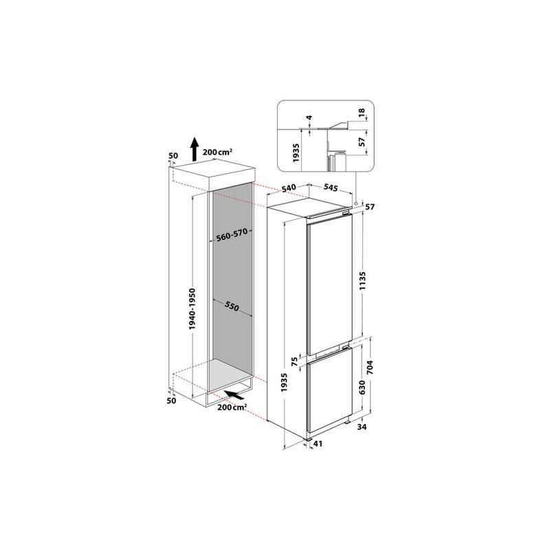 Whirlpool-Combinazione-Frigorifero-Congelatore-Da-incasso-WHC20-T573-Bianco-2-porte-Technical-drawing