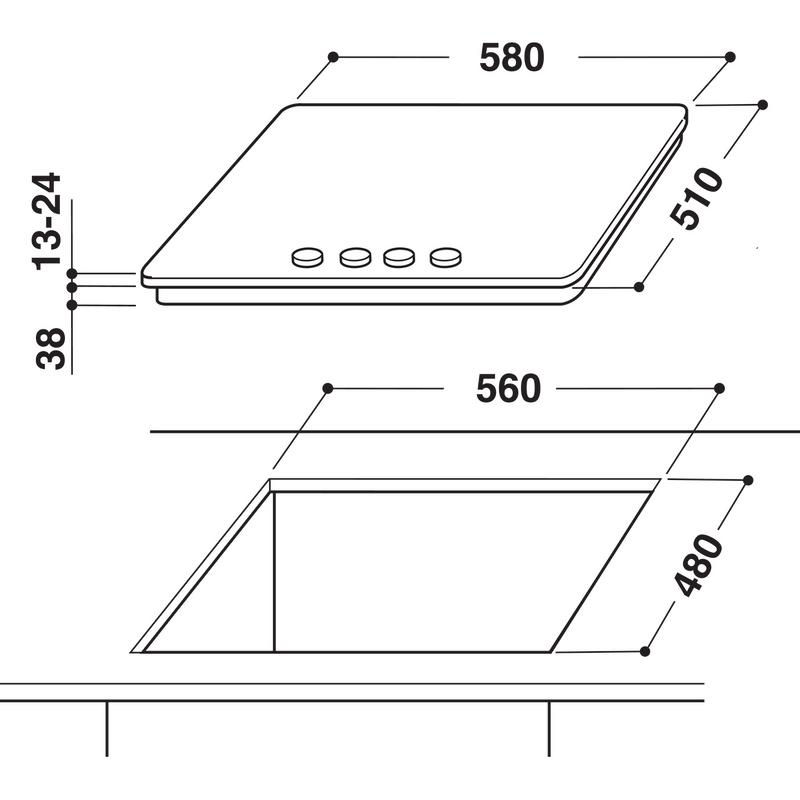 Whirlpool-Piano-cottura-AKR-350-IX-Inox-GAS-Technical-drawing