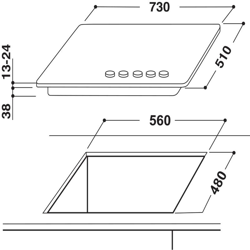 Whirlpool-Piano-cottura-AKR-357-IX-Inox-GAS-Technical-drawing