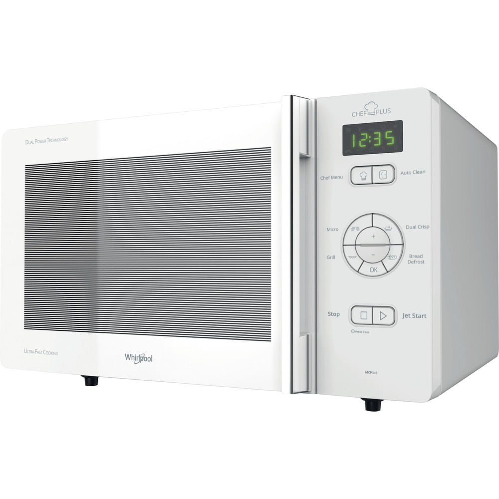 Whirlpool Microonde a libera installazione MCP 345 WH : guarda le specifiche e scopri le funzioni innovative degli elettrodomestici per casa e famiglia.