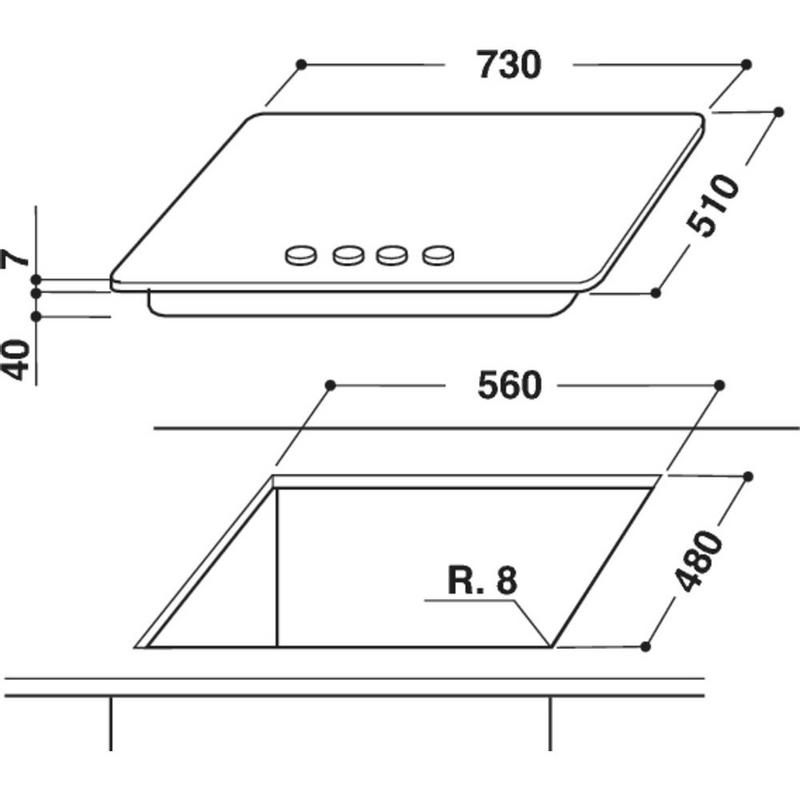 Whirlpool-Piano-cottura-GMA-7522-IXL-Inox-GAS-Technical-drawing