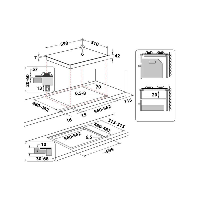 Whirlpool-Piano-cottura-GOA-6423-NB-Nero-GAS-Technical-drawing