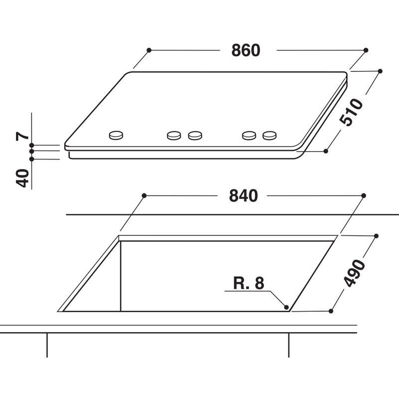 Whirlpool-Piano-cottura-GMA-9522-IXL-Inox-GAS-Technical-drawing