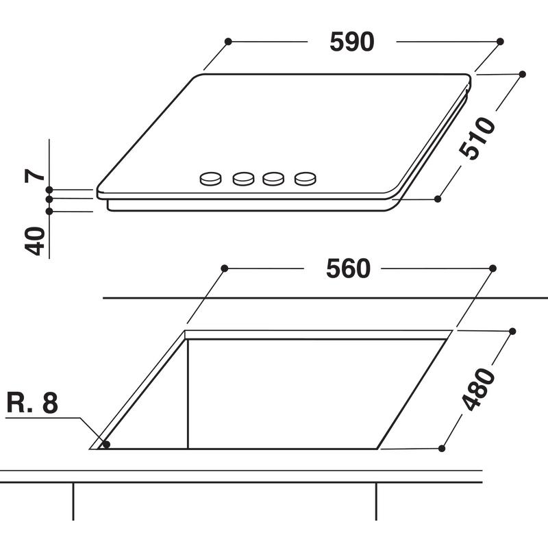 Whirlpool-Piano-cottura-GMA-6422-IXL-Inox-GAS-Technical-drawing