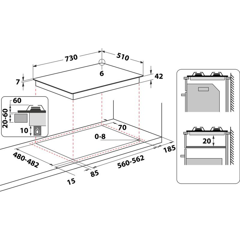 Whirlpool-Piano-cottura-GOA-7523-WH-Bianco-GAS-Technical-drawing
