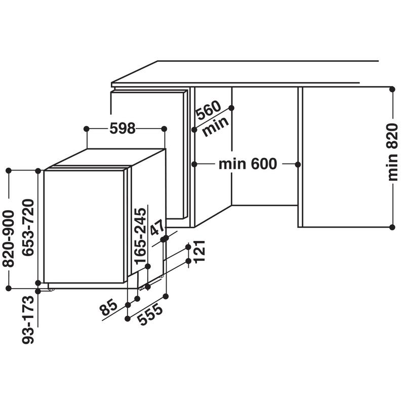 Whirlpool-Lavastoviglie-Da-incasso-WUIC-3B19-Totalmente-integrato-A--Technical-drawing