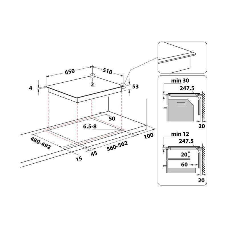 Whirlpool-Piano-cottura-SMO-654-OF-BT-IXL-Nero-Induction-vitroceramic-Technical-drawing