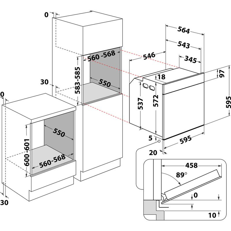 Whirlpool-Forno-Da-incasso-OAKP9-7451-H-IX-Elettrico-A-Technical-drawing