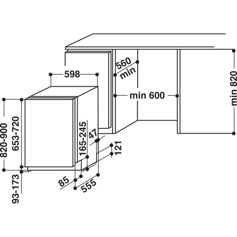 Whirlpool-Lavastoviglie-Da-incasso-WIC-3T224-PFG-Totalmente-integrato-A---Technical-drawing