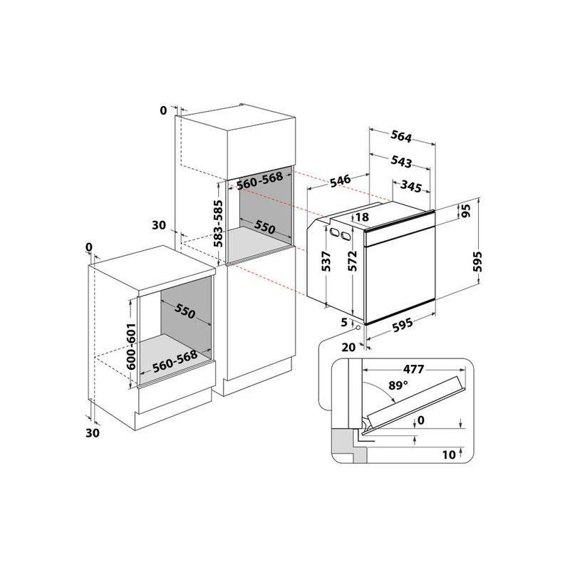Whirlpool-Forno-Da-incasso-W7-OS4-4S1-H-Elettrico-A--Technical-drawing