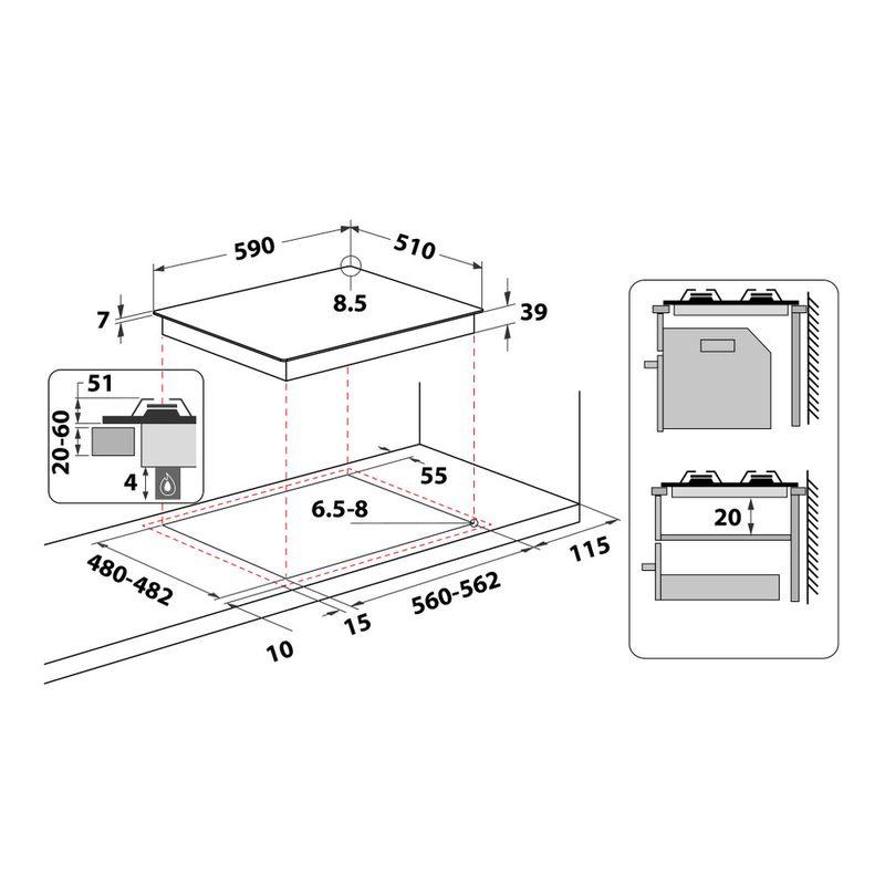 Whirlpool-Piano-cottura-GMR-6422-IXL-Inox-GAS-Technical-drawing