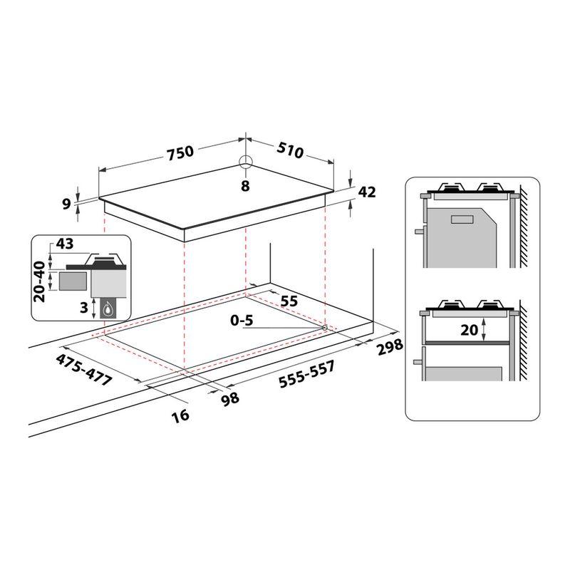 Whirlpool-Piano-cottura-PMW-75D2-IXL-Inox-GAS-Technical-drawing