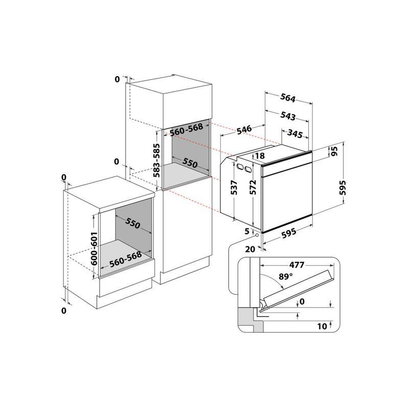 Whirlpool-Forno-Da-incasso-W7-OM4-4S1-P-WH-Elettrico-A--Technical-drawing