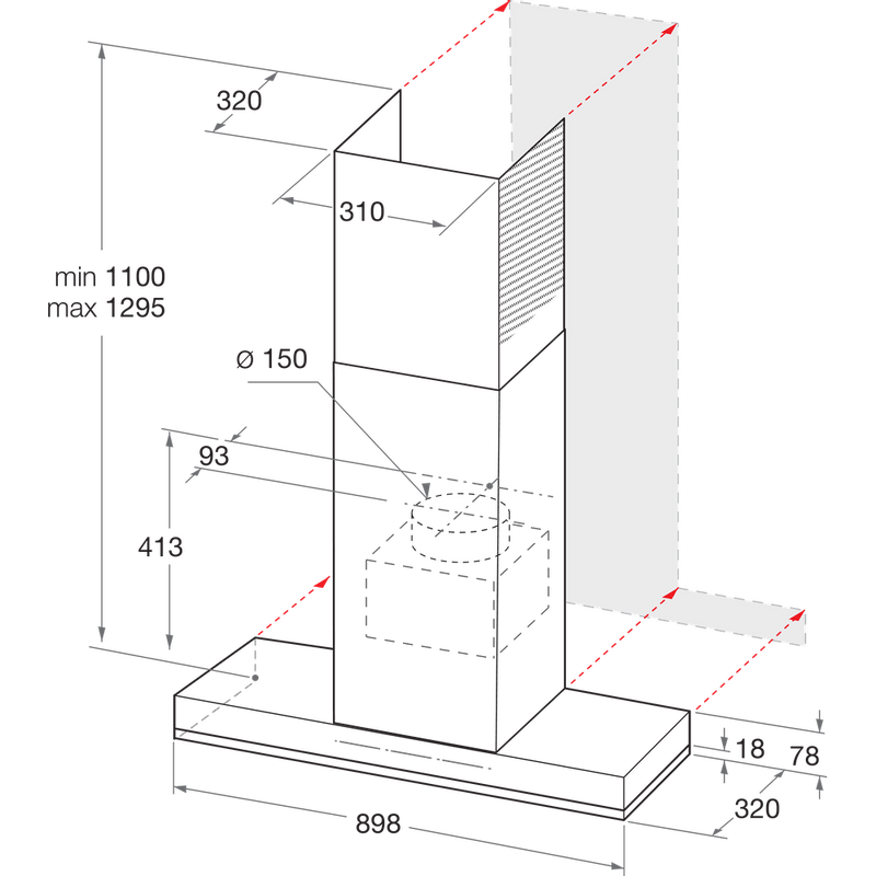 Whirlpool-Cappa-Da-incasso-WHSS-92F-LT-K-Nero-Montaggio-a-parete-Elettronico-Technical-drawing