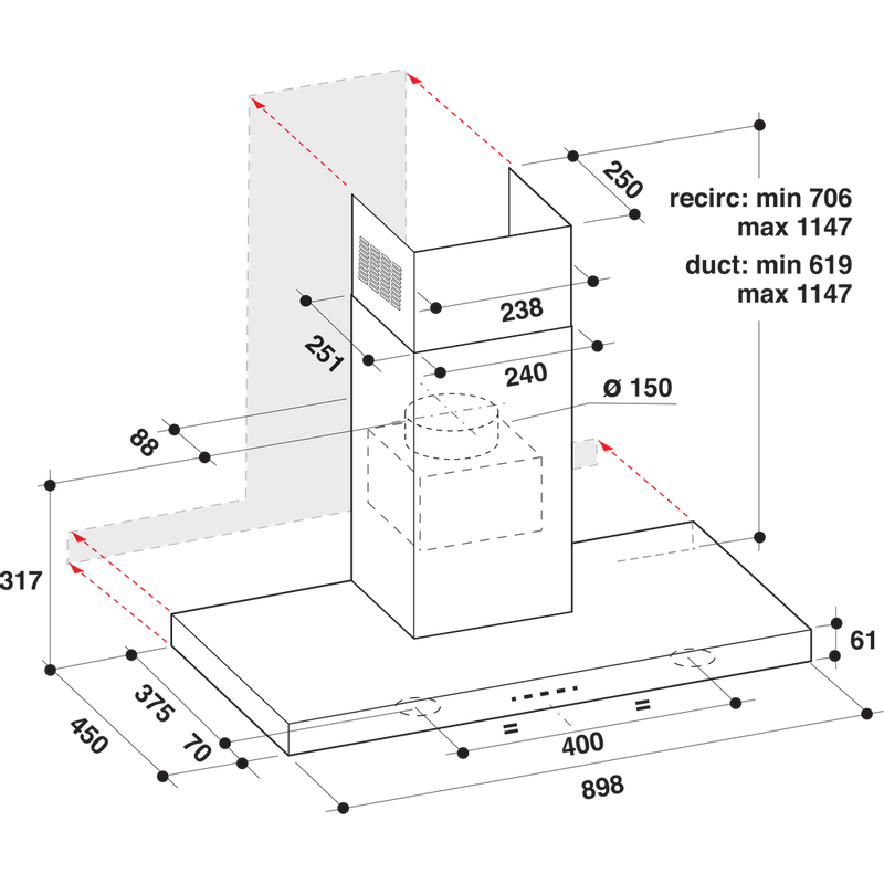 Whirlpool-Cappa-Da-incasso-AKR-759-1-IX-Inox-Montaggio-a-parete-Elettronico-Technical-drawing