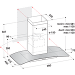 Whirlpool-Cappa-Da-incasso-WHGC-93-FL-MX-Inox-Montaggio-a-parete-Meccanico-Technical-drawing