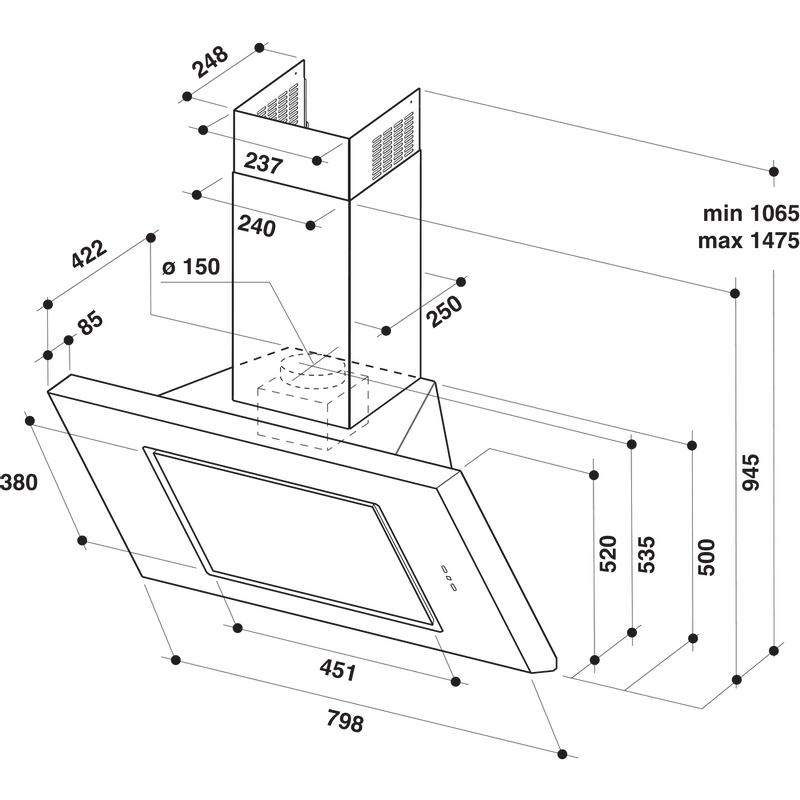Whirlpool-Cappa-Da-incasso-AKR-808-1-IX-Inox-Montaggio-a-parete-Meccanico-Technical-drawing