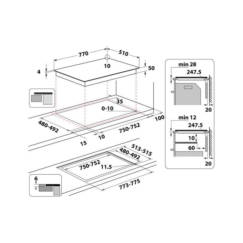 Whirlpool-Piano-cottura-WL-S3777-NE-Nero-Induction-vitroceramic-Technical-drawing