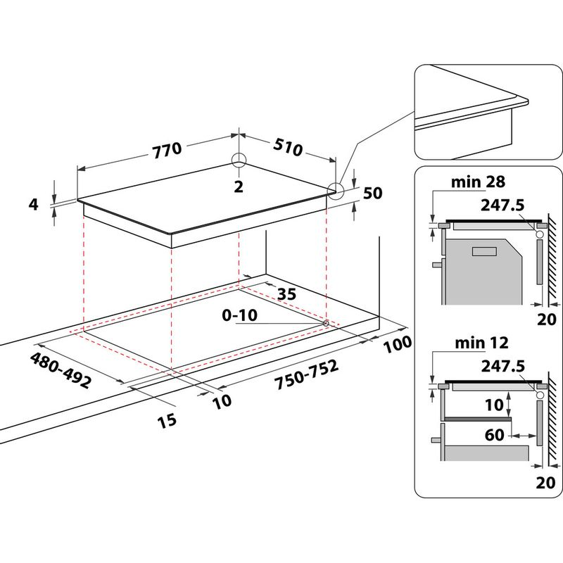 Whirlpool-Piano-cottura-WL-S3377-BF-Nero-Induction-vitroceramic-Technical-drawing
