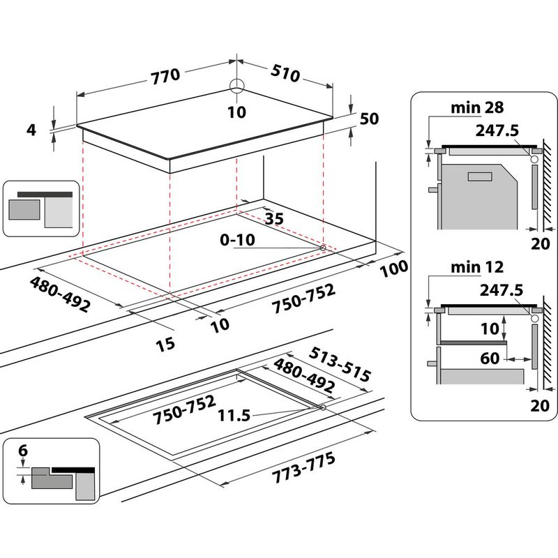 Whirlpool-Piano-cottura-WL-B2977-NE-Nero-Induction-vitroceramic-Technical-drawing