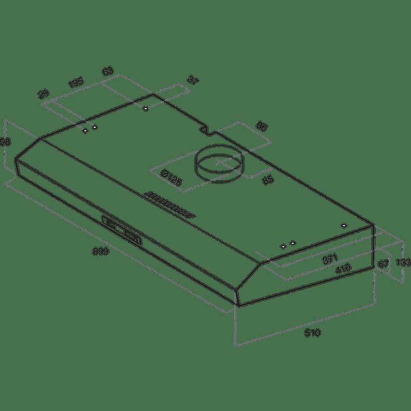 Whirlpool-Cappa-Da-incasso-AKR-934-1-IX-Inox-Montaggio-a-parete-Meccanico-Technical-drawing