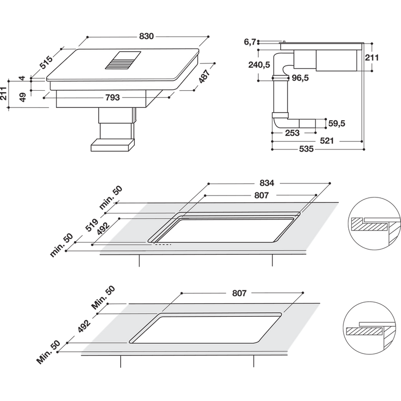 Whirlpool-Venting-cooktop-WVH-92-K-Nero-Technical-drawing
