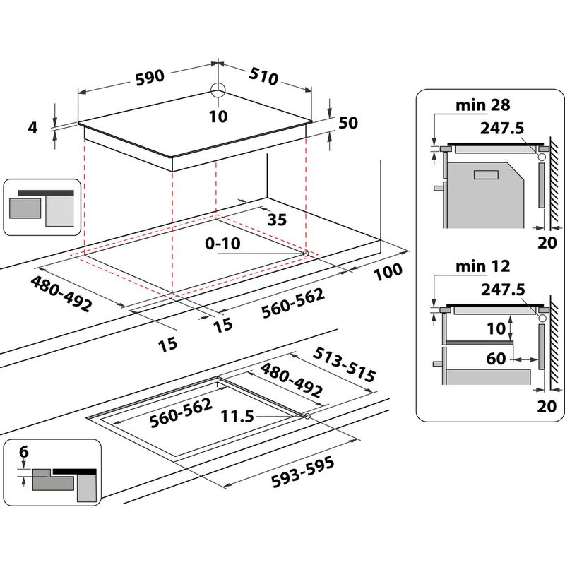Whirlpool-Piano-cottura-WS-Q2160-NE-Nero-Induction-vitroceramic-Technical-drawing