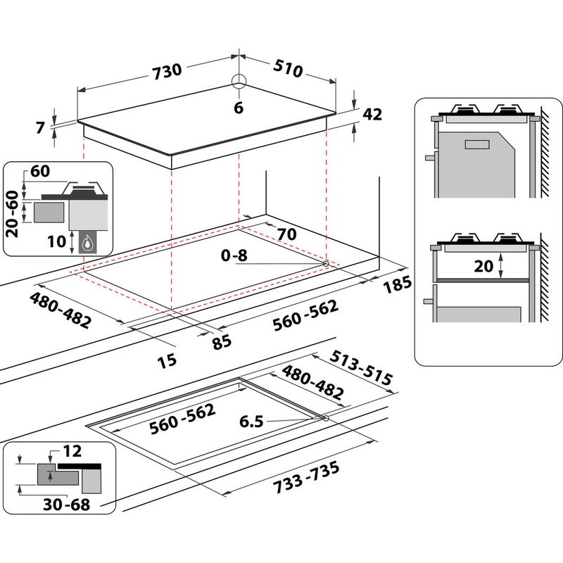 Whirlpool-Piano-cottura-GOWL-758-WH-Bianco-GAS-Technical-drawing