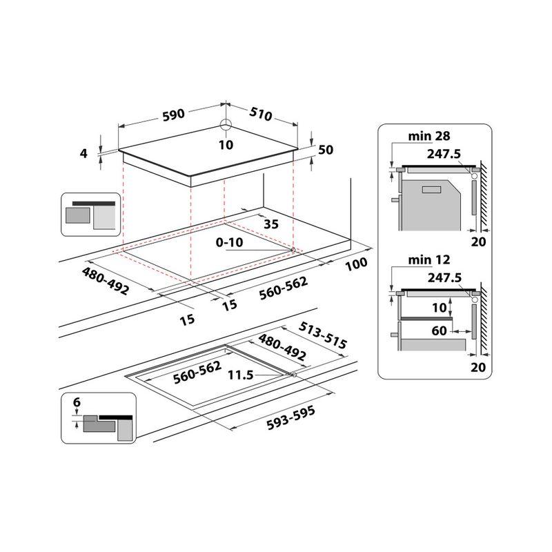 Whirlpool-Piano-cottura-WS-Q7360-NE-Nero-Induction-vitroceramic-Technical-drawing