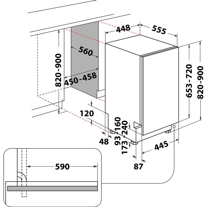 Whirlpool-Lavastoviglie-Da-incasso-WSIO-3T223-PCE-X-Totalmente-integrato-E-Technical-drawing