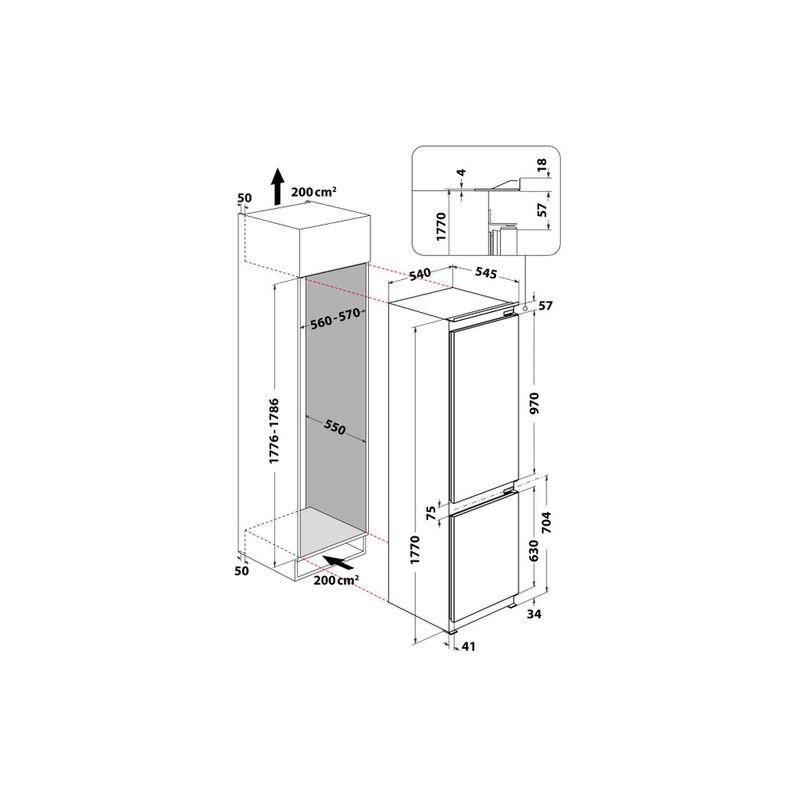 Whirlpool-Combinazione-Frigorifero-Congelatore-Da-incasso-ART-66001-Bianco-2-porte-Technical-drawing