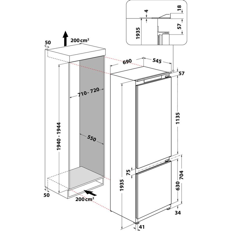 Whirlpool-Combinazione-Frigorifero-Congelatore-Da-incasso-SP40-802-2-Bianco-2-porte-Technical-drawing