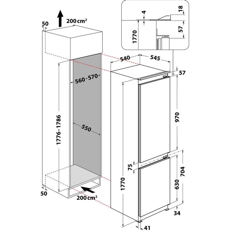 Whirlpool-Combinazione-Frigorifero-Congelatore-Da-incasso-ART-6711-SF2-Bianco-2-porte-Technical-drawing