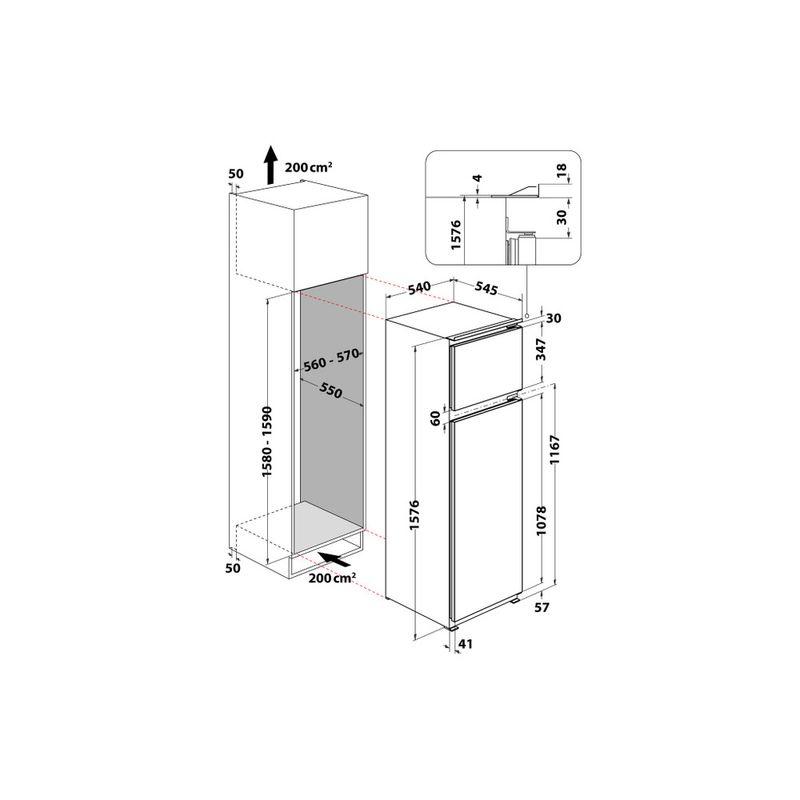 Whirlpool-Combinazione-Frigorifero-Congelatore-Da-incasso-ART-3671-Bianco-2-porte-Technical-drawing