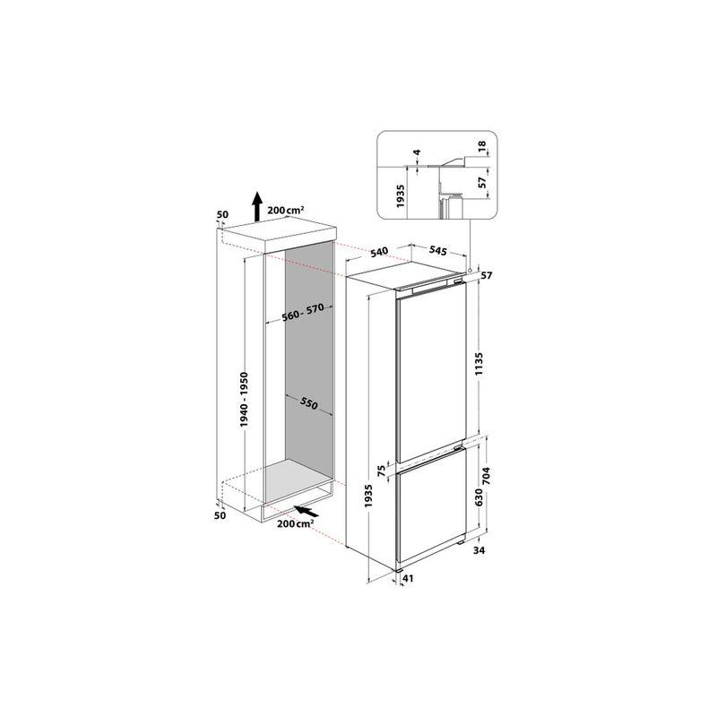 Whirlpool-Combinazione-Frigorifero-Congelatore-Da-incasso-ART-96101-Bianco-2-porte-Technical-drawing