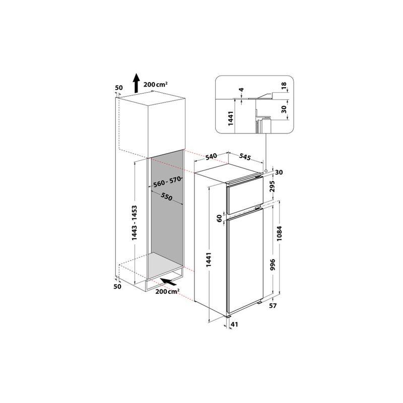Whirlpool-Combinazione-Frigorifero-Congelatore-Da-incasso-ART-3801-Acciaio-2-porte-Technical-drawing