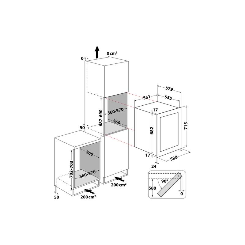 Whirlpool-Conservazione-del-vino-Da-incasso-W7-WC711-Inox-Technical-drawing