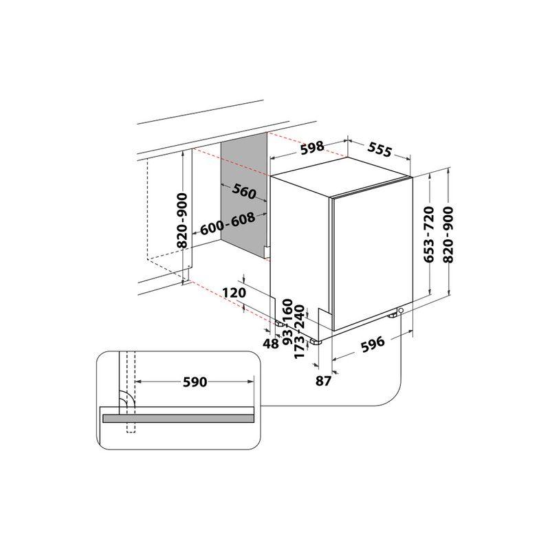 Whirlpool-Lavastoviglie-Da-incasso-WIC-3B26-Totalmente-integrato-E-Technical-drawing