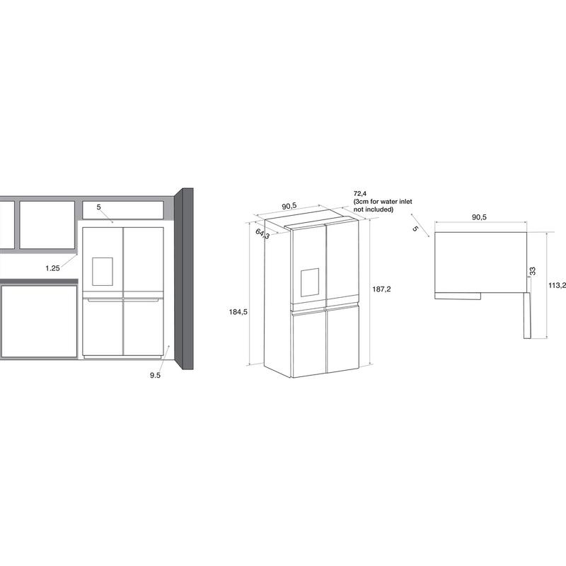 Whirlpool-Side-by-side-A-libera-installazione-WQ9I-MO1L-Inox-Technical-drawing