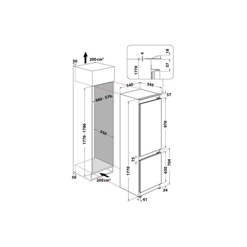 Whirlpool-Combinazione-Frigorifero-Congelatore-Da-incasso-WHC18-T341-Bianco-2-porte-Technical-drawing