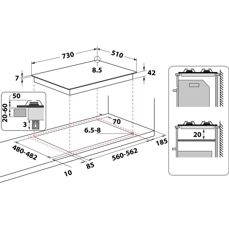 Whirlpool-Piano-cottura-GMAL-7522-IXL-Inox-Ixelium-GAS-Technical-drawing