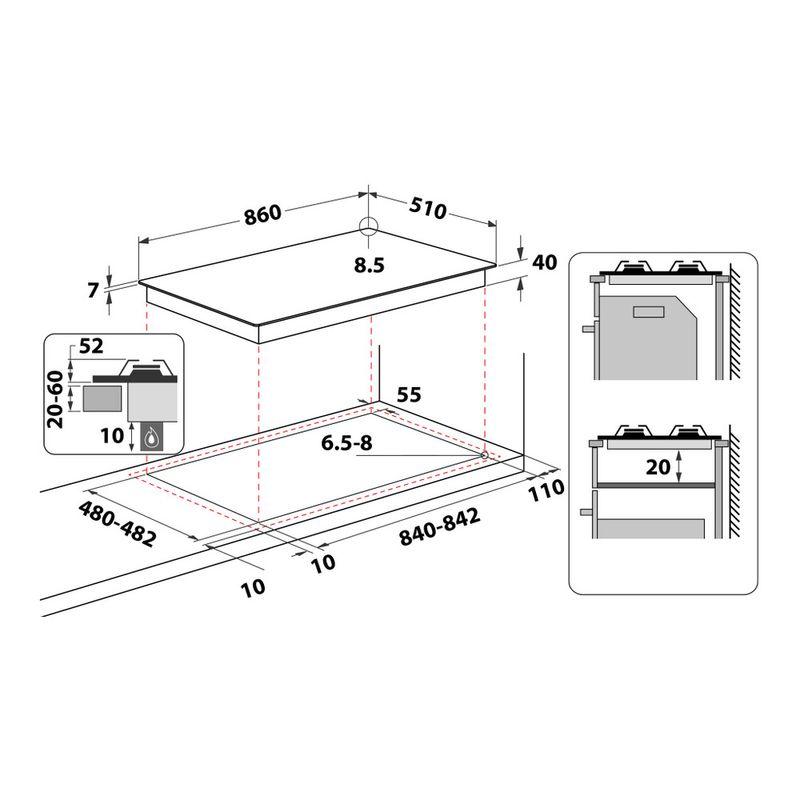 Whirlpool-Piano-cottura-GMAL-9522-IXL-Inox-Ixelium-GAS-Technical-drawing