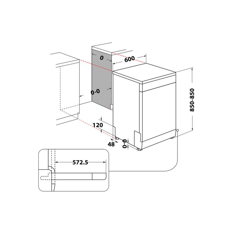 Whirlpool-Lavastoviglie-A-libera-installazione-WFC-3C26-P-A-libera-installazione-E-Technical-drawing