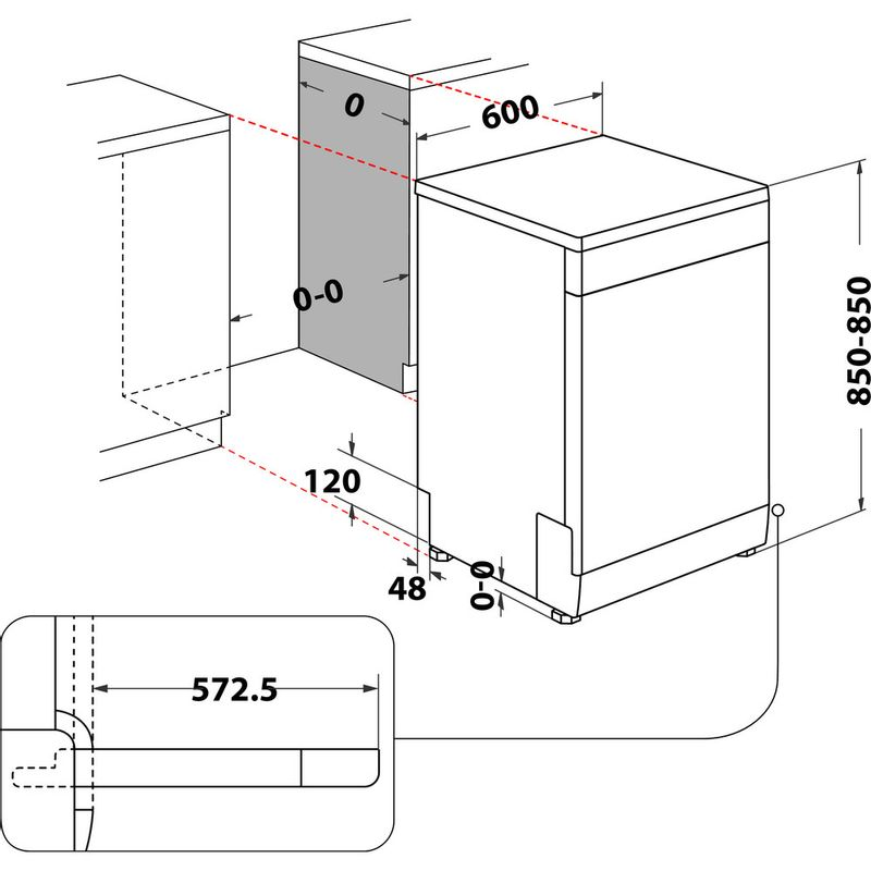 Whirlpool-Lavastoviglie-A-libera-installazione-WFC-3C26-PF-X-A-libera-installazione-E-Technical-drawing