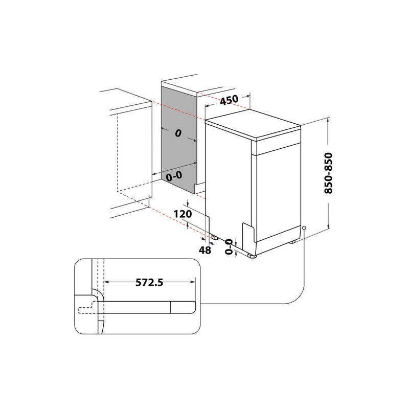Whirlpool-Lavastoviglie-A-libera-installazione-WSFC-3M17-X-A-libera-installazione-F-Technical-drawing
