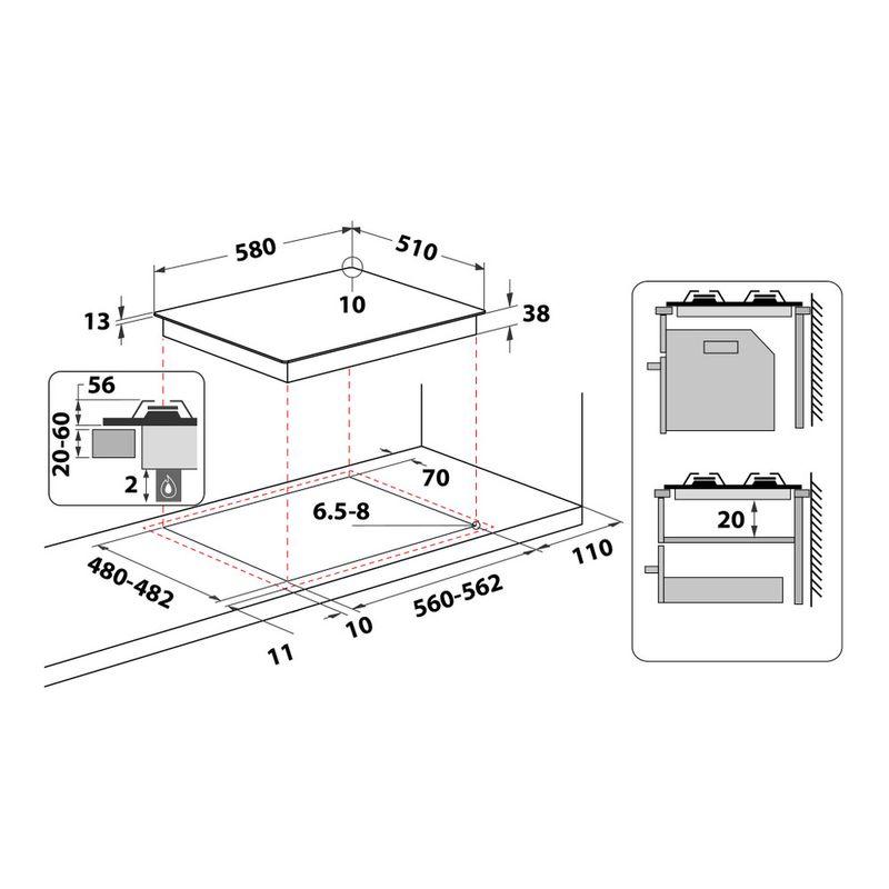Whirlpool-Piano-cottura-TKRL-661-IX-Inox-GAS-Technical-drawing