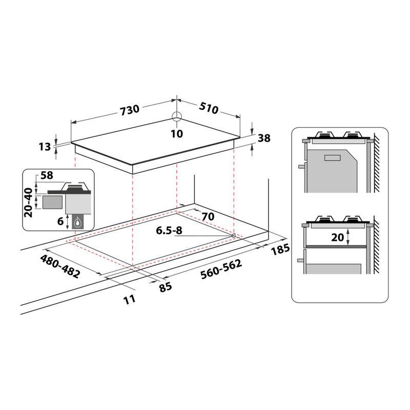 Whirlpool-Piano-cottura-TKRL-751-IX-Inox-GAS-Technical-drawing